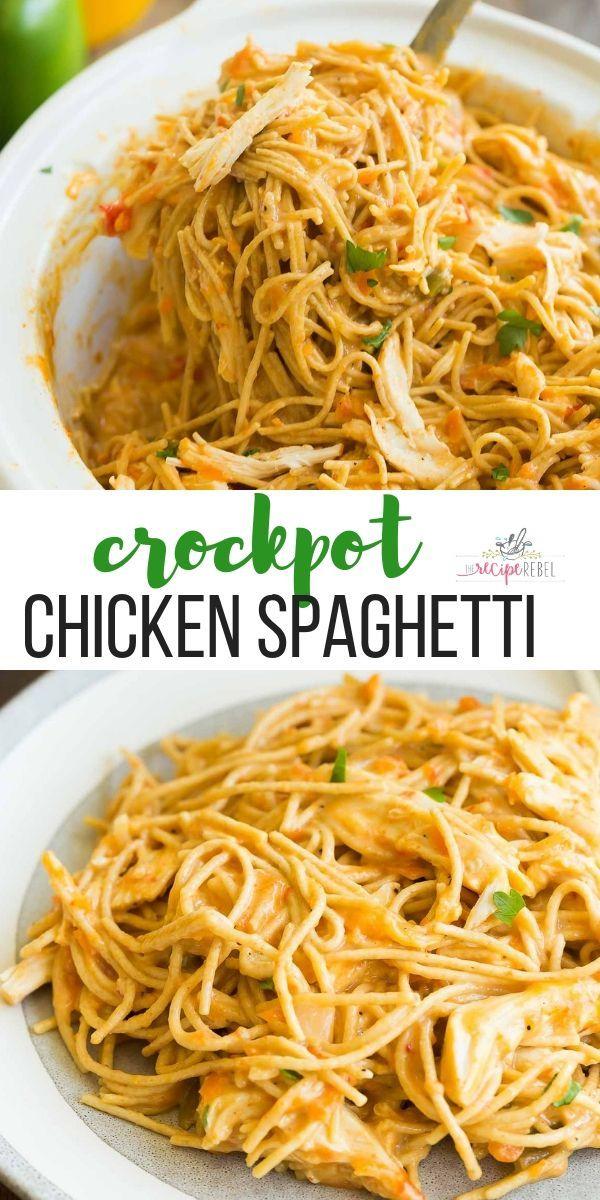 Diese Cheesy Crockpot Chicken Spaghetti ist ein einfaches Crockpot Chicken Re …