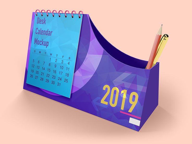 Free Download Desk Calendar With Pen Box Mockups Desk Calendars Desk Calendar Mockup Calendar