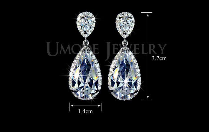 Elegante druppelvorm aaa + umode zirconia kristal diamant bruids oorbellen voor vrouwen ue0034 in van drop oorbellen op AliExpress.com | Alibaba Groep