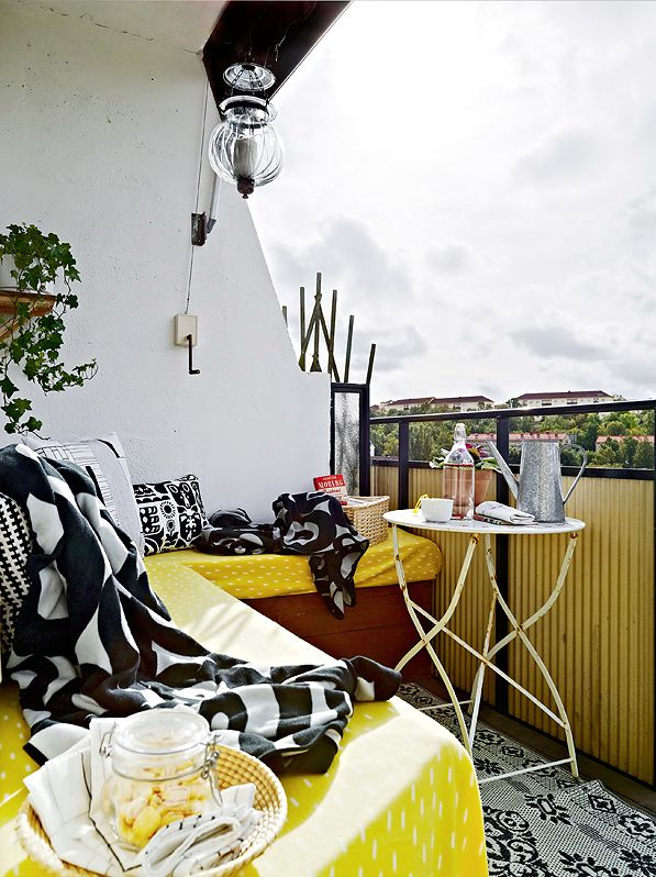 black white and yellow balcony decor
