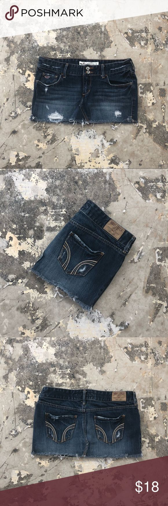 🖤👊🏻FLASH SALE 🖤👊🏻 Bringing back the 90's!!! A jean skirt is a must have this year! This skirt has an awesome blue jean tone with distressed spots to give you a casual I don't care what you think style! :) Very soft fabric. Hollister Skirts Mini