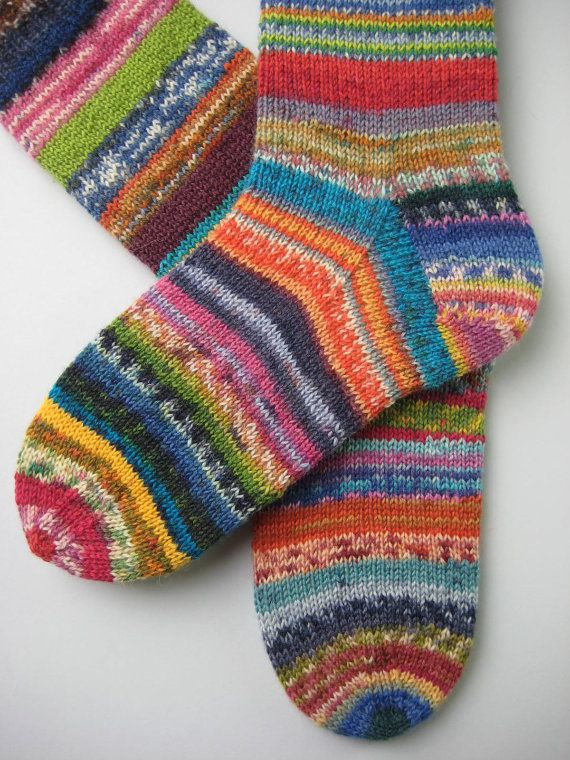 crazy socks hand knitted womens wool socks UK 4-6 US 6-8