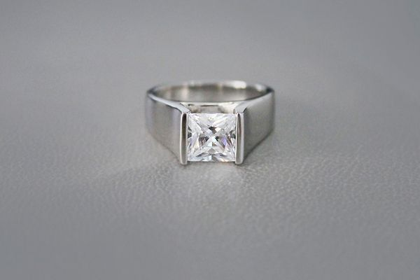 Tension set princess cut diamond