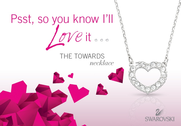 Drop a hint... you know his heart is yours! Swarovski Towards Heart necklace #SwarovskiLOVE