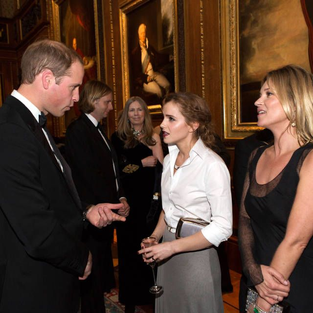 Prince William with Emma Watson & Kate Moss at the dinner to benefit the Royal Marsden cancer hospital