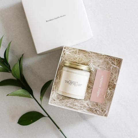 Folk + Fleura Candle + Matchbox Gift Set