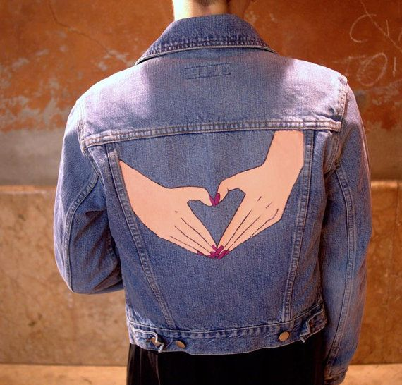HEART hand painted vintage denim jacket by SissettaSinclair