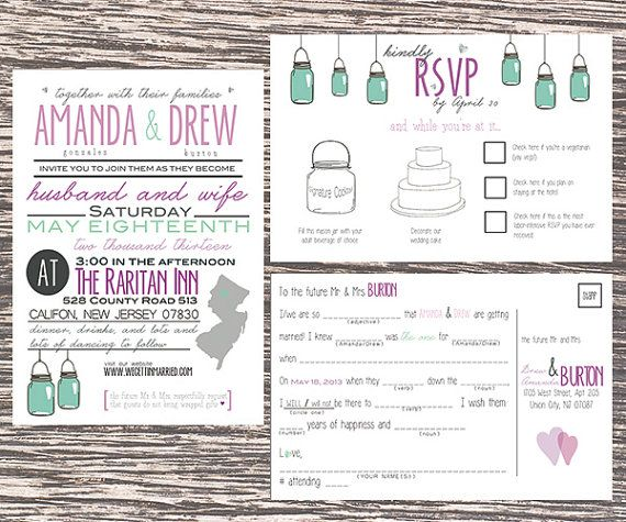 custom invitations with whimsical mad-lib RSVP | unique weddings by LittleMissMrs, $1.50 #purple #mint #pink