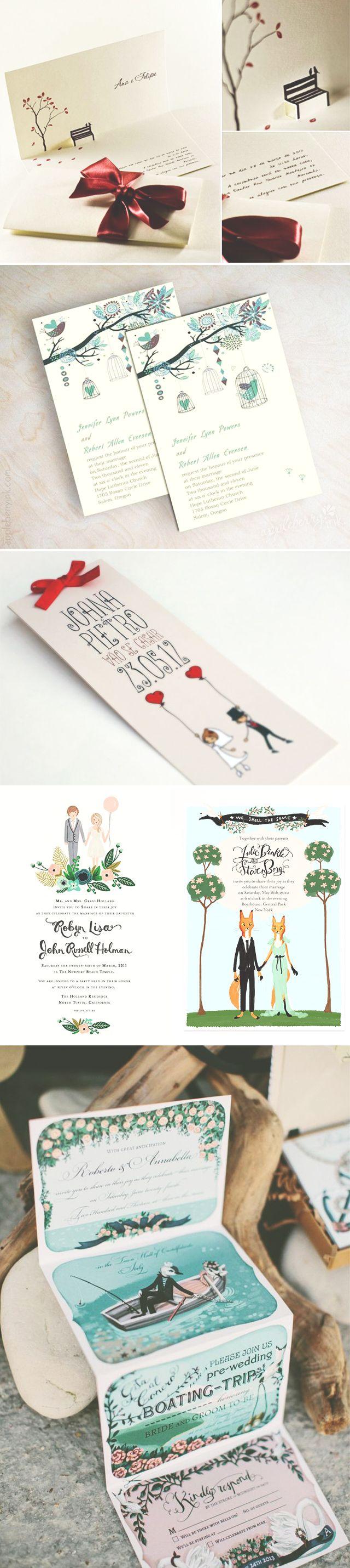 6 exemplos de convites de casamento ilustrados