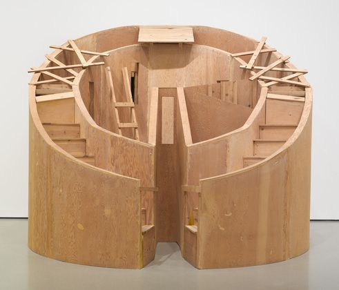 """Project entitled """"studies for a town""""  alice aycock  1977.    the artist identifies many architectural sources for the work, including """"medieval walled towns, roman amphitheaters, military bunkers, egyptian shanty towns and desert citadels, and an eighteenth-century indian observatory at jaipur."""""""