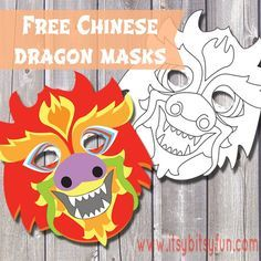 Free Printable Chinese Dragon Mask Template (one pre-colored and one to color) - Itsy Bitsy Fun