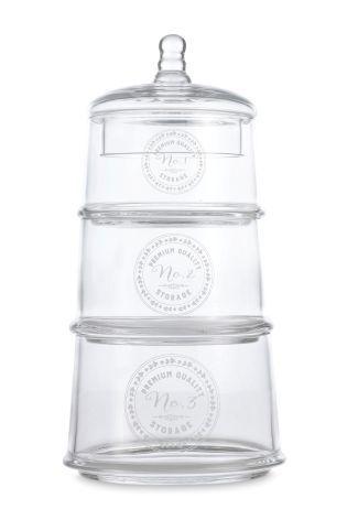 Set Of 3 Glass Storage Jars
