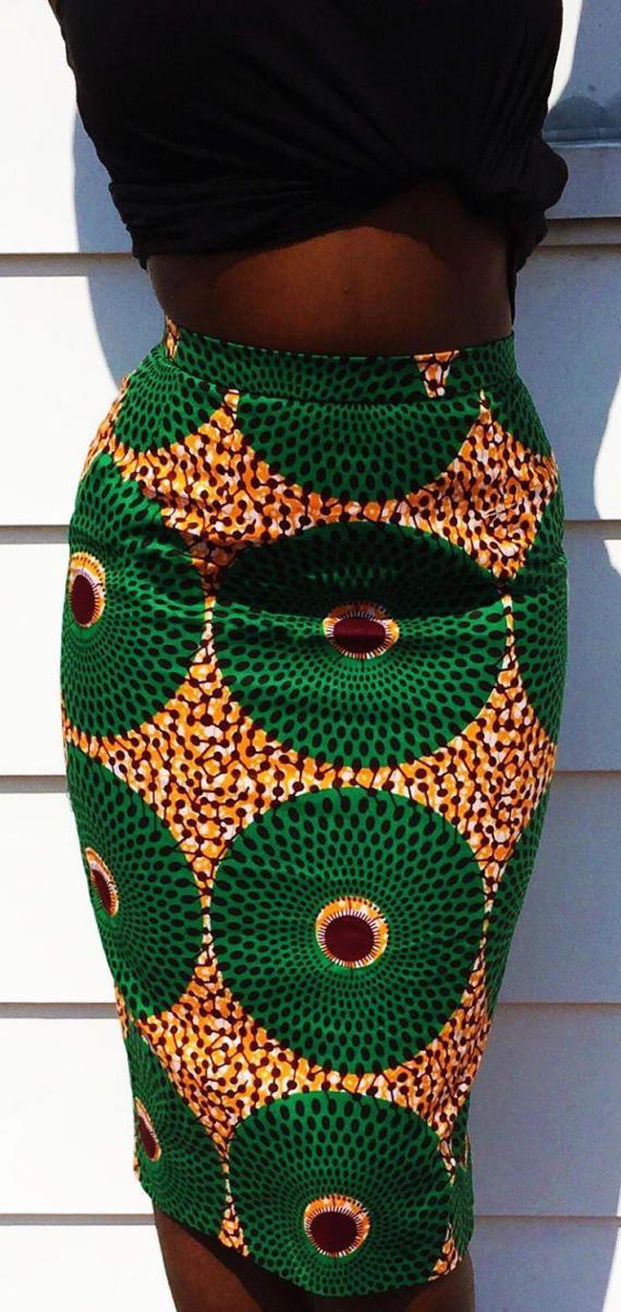 Jupe taille haute crayon Kévin Ankara  100 % coton de Wax hollandais  Variété de tissus colorés  Expédié sous 7 jours