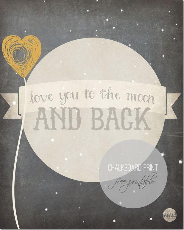 Love You To The Moon Chalkboard Print | Mama Miss #chalkboard #moon #kiddecor