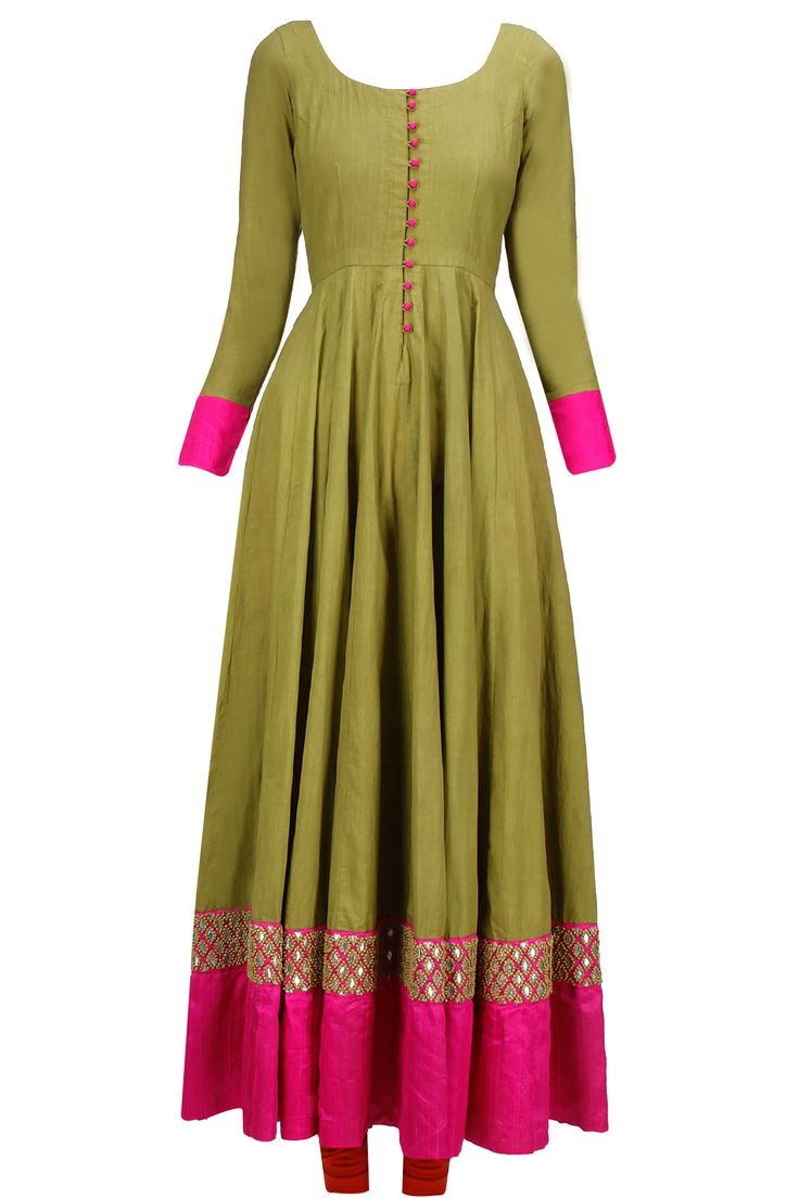 Military green and red gota embroidered anarkali set available only at Pernia's Pop-Up Shop.