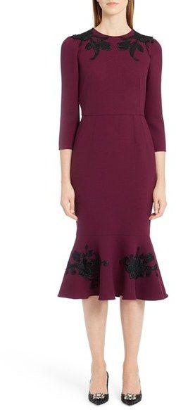 Women's Dolce&gabbana Floral Applique Flounce Hem Dress