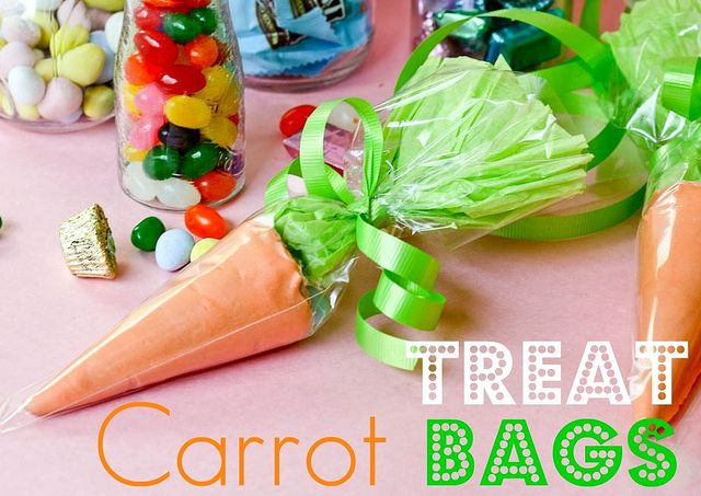 Easter Carrot Treat BagsCarrots Treats, Treats Bags, Easter Carrots, Treat Bags, Cute Ideas, Sugar Cones, Faux Veggies, Easter Treats, Ice Cream Cones
