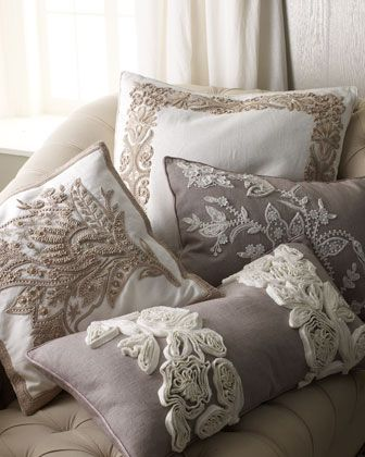 Hand-Embroidered Pillows by Ankasa at Horchow., sooo pretty!