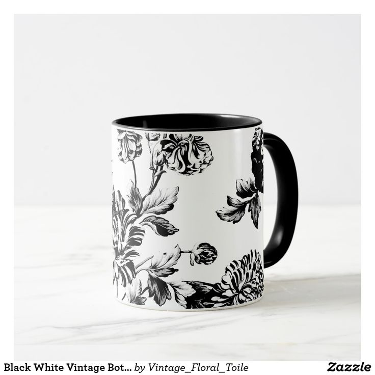 Black White Vintage Botanical Floral Toile Mug