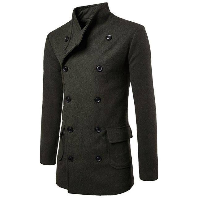2019 Winter Wool Coat Male Belt with Waist Design Peacoat