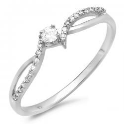 """This sweet promise ring is a look of beauty. Gracefully swirling around the 0.06 carat round cut diamond center stone, two ribbons – one polished, the other lined with diamonds – create a charming crisscross shank. Crafted of shimmering 10 karat white gold, this 0.15 carat total weight diamond ring is a sweet illumination for her finger. Say """"I LOVE YOU"""" with this delightful ring."""