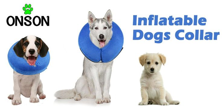 AmazonSmile : ONSON Protective Inflatable Dog Collar, Soft Pet Recovery E-Collar Cone for Small Medium Large Dogs, Designed to Prevent Pets From Touching Stitches, Wounds and Rashes, Does Not Block Vision, Medium : Pet Supplies