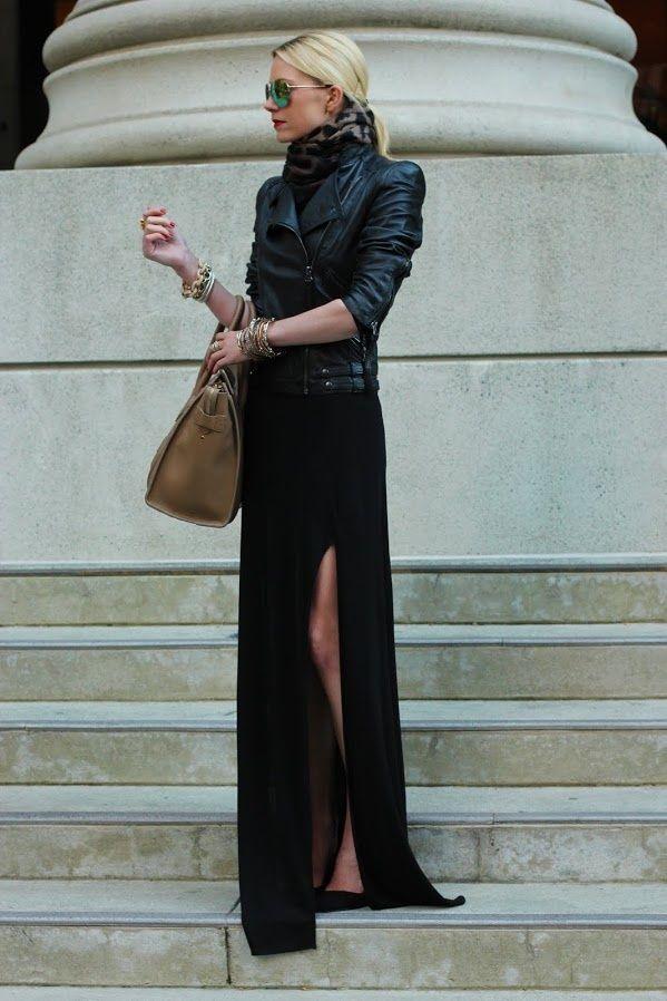 Long black dress worn w/ a leather jacket   Dress: Zara. ...