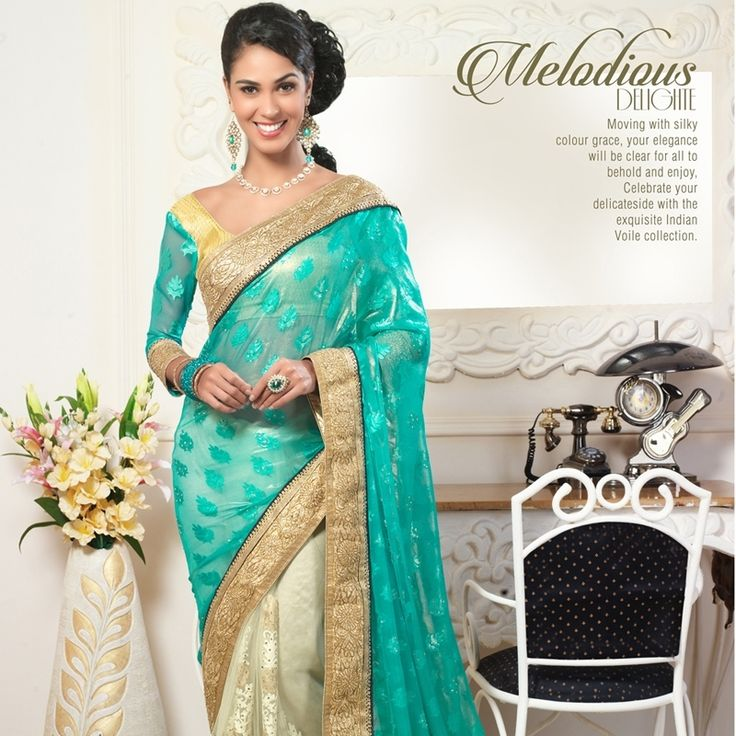 Shop brasso sea green party wear saree to make your appearance even more elegance and enchanting.
