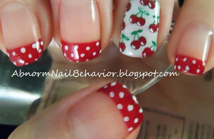 Rockabilly-cherry-and-polka-dot-nail-art