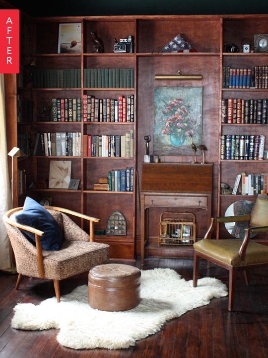 Before & After: From Bland Bedroom to Longed-For Library