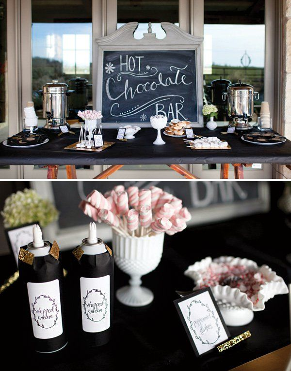 winter first birthday party hot chocolate bar love wrapping the whipped cream bottle