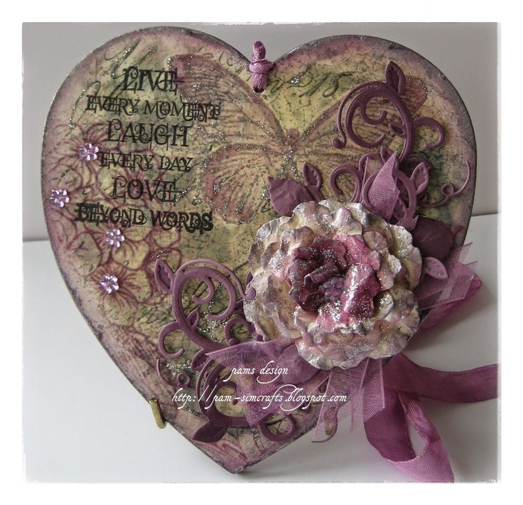 Purple heart with a rose - pamscrafts
