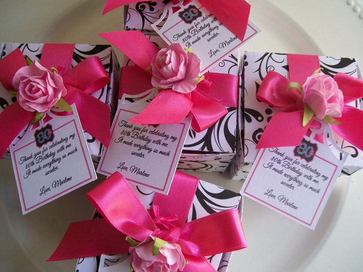 Added thank you notes to the 80th birthday party favors for 80th birthday decoration ideas