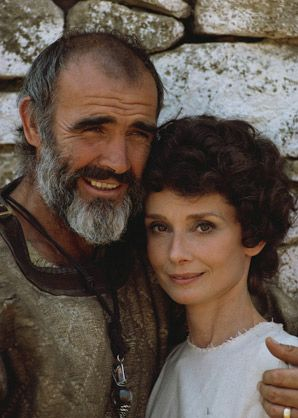 A portrait of Sean Connery and Audrey Hepburn on the set of Robin and Marian. 1976.