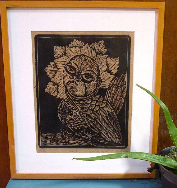 Baby Bird Original Woodcut Print by Djuwadi Prints, $50.