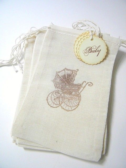 Vintage baby party favor bags. $7.50