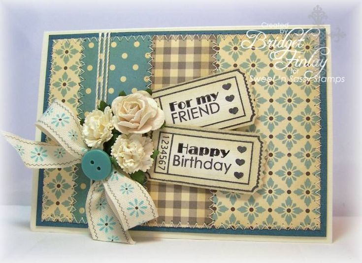 The use of tickets for the sentiment is adorable and I like the layout of the entire cardStamps Marching, Cards Ideas, Blog Hop, Marching Release, Cards Birthday, Paper Blessed, Bridget Paper, Sassy Stamps, Release Blog