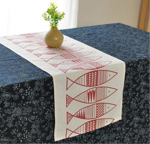 Японский стиль бегун столовая рыба элегантный дорожка на стол кровать бегун винтаж свадебное украшение стола Chemin де столик скатертькупить в магазине Two FishнаAliExpress