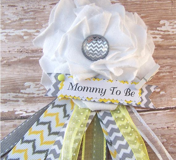Yellow and Gray Chevron Mommy To Be Chevron by BloomingParty, $15.00