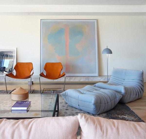 modern furniture in pastels paired with leather // via coco kelley