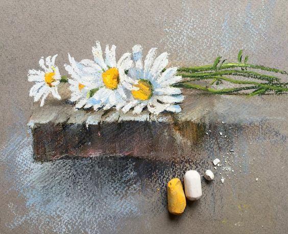 Ромашки #пастель #ромашки #цветы #цветыпастелью #softpastel #softpastels #flowers