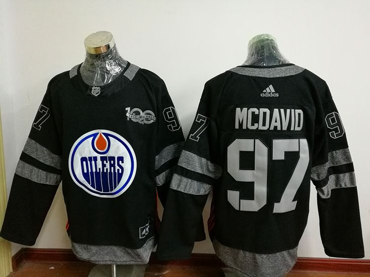 Men's Edmonton Oilers #97 Connor McDavid Black 100TH Anniversary Hockey Jerseys