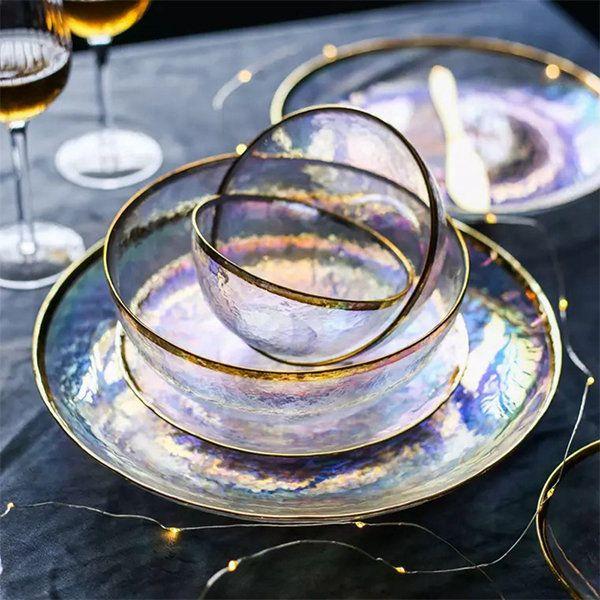 Dessert Plate Made in France Amethyst//Purple Glass Swirled Rimmed Salad