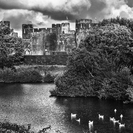 Caerphilly Castle Western Towers mono