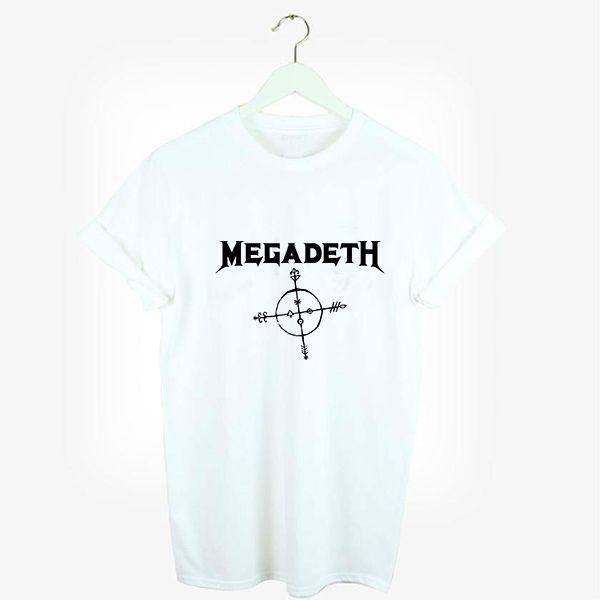Unisex Loose Style Metal Megadeth Logo Graphic 2016 Summer Women Ink Print T-shirt Harajuku Female White Swag Printed Tshirt #Affiliate