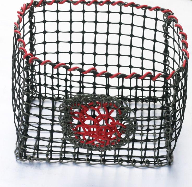 © Maritza Noa-Cabrera. Grey and pink vintage inspired basket/storage.