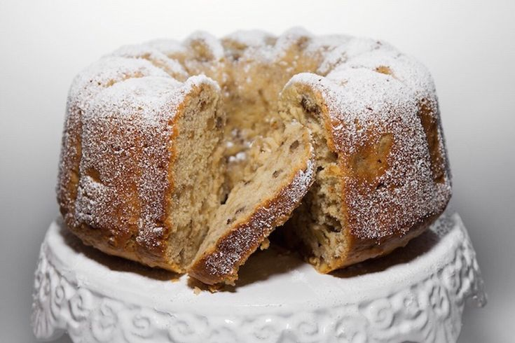 Milopita (μηλόπιτα) or apple cake is often enjoyed for breakfast in Greece. And, yes, cake for breakfast :) This traditional cake bakes up light and high w