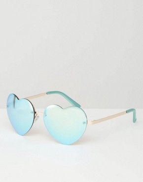 River Island Reflective Frameless Heart Shaped Sunglasses