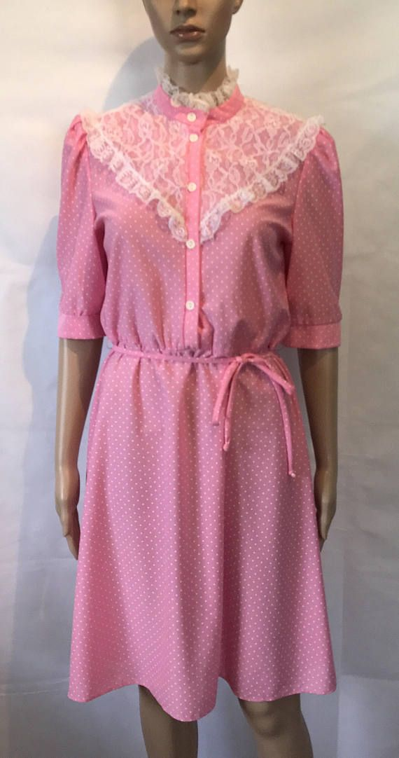 Vintage Ladies High Collar Bubblegum Pink Dress with White