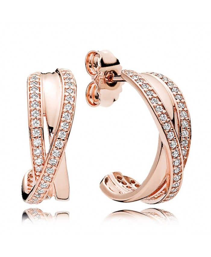 Pandora Rose Gold Cz Entwined Hoop Earrings Uk